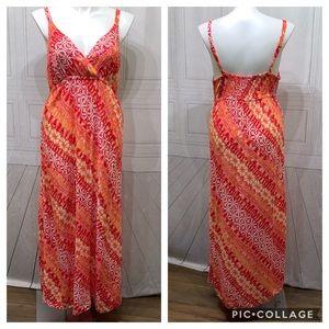 Faded Glory Summer Orange White Dress Maxi XXL